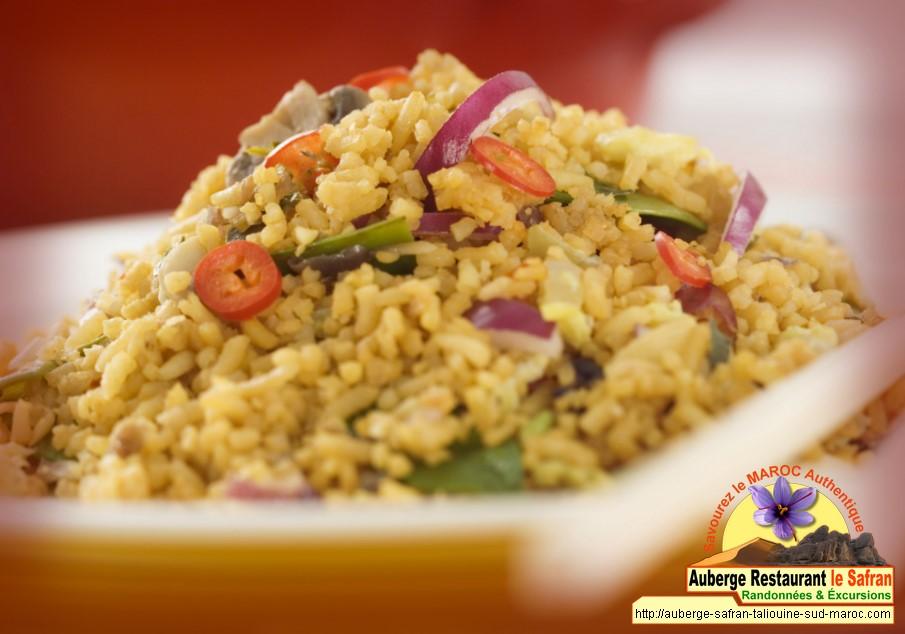 Riz au safran + légumes au safran