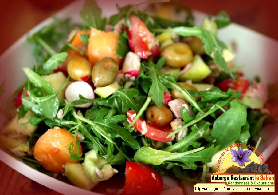 Salade mixte à l'argan et vinaigrette safranée