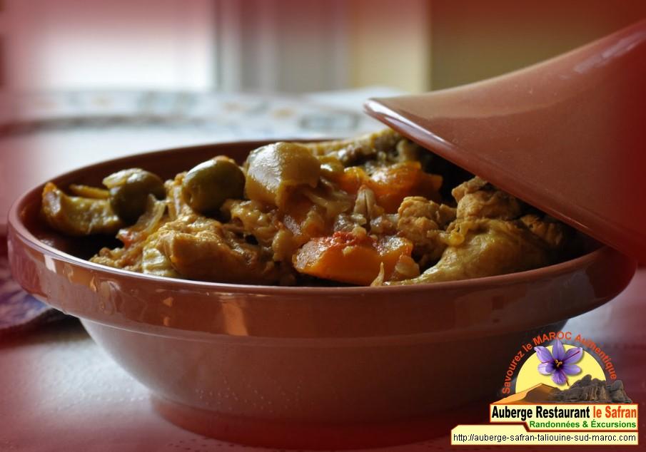 Tagine de poulet au légumes + citron + safran